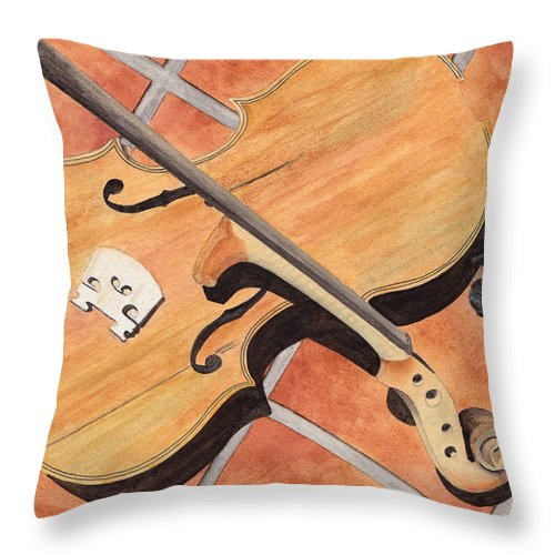 Violin Throw Pillow featuring the painting The Broken Violin by Ken Powers