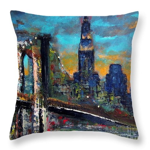 Bridges Throw Pillow featuring the painting The Brooklyn Bridge by Frances Marino