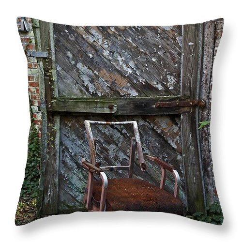 Chair Throw Pillow featuring the photograph The Brown Chair by Murray Bloom