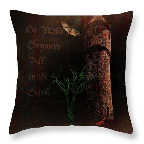 Lovecraft Throw Pillow featuring the digital art The Brown Tower by Mimulux patricia No