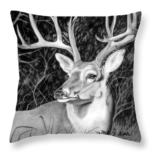 Deer Throw Pillow featuring the drawing The Buck by Howard Dubois