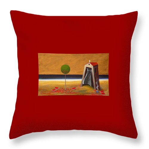 Astronomy Throw Pillow featuring the painting the Buff House by Dimitris Milionis
