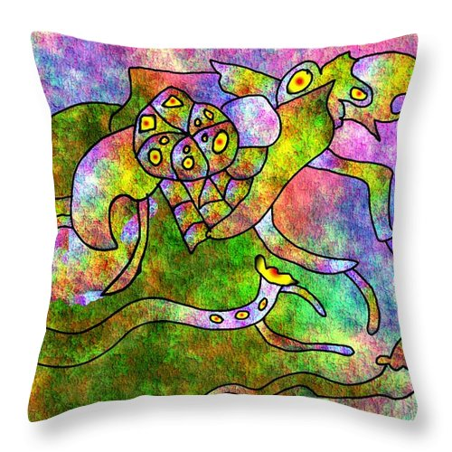 Bugs Color Texture Abstract Fun Throw Pillow featuring the digital art The Bugs by Veronica Jackson