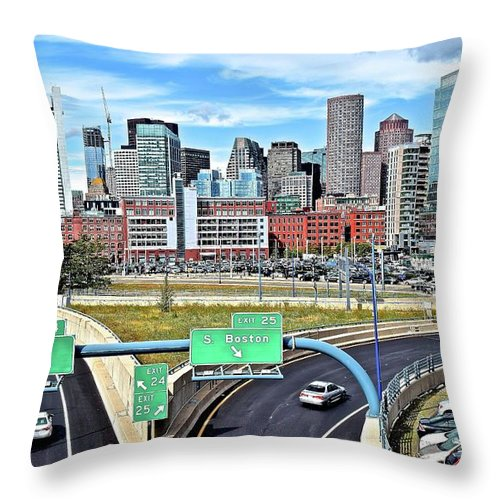 Boston Throw Pillow featuring the photograph The Buildings Of Boston by Frozen in Time Fine Art Photography