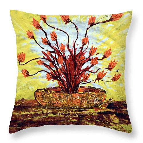 Red Bush Throw Pillow featuring the painting The Burning Bush by J R Seymour