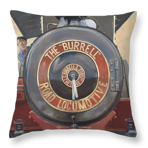Traction Engine Throw Pillow featuring the painting The Burrell Road Locomotive by Richard Picton
