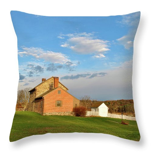 Gettysburg Throw Pillow featuring the photograph The Bushman House by Jen Goellnitz
