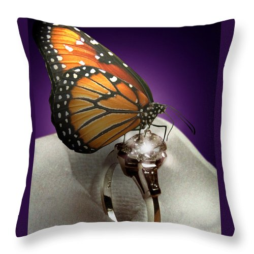 Fantasy Throw Pillow featuring the mixed media The Butterfly and the Engagement Ring by Yuri Lev