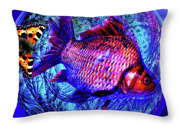 The butterfly and the fish throw pillow for sale by joseph for 94 1 the fish