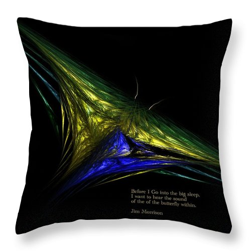 Abstract Digital Painting Throw Pillow featuring the digital art The Butterfly Within by David Lane