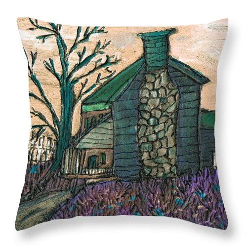 Cabin Throw Pillow featuring the painting The Cabin 2 by Wayne Potrafka