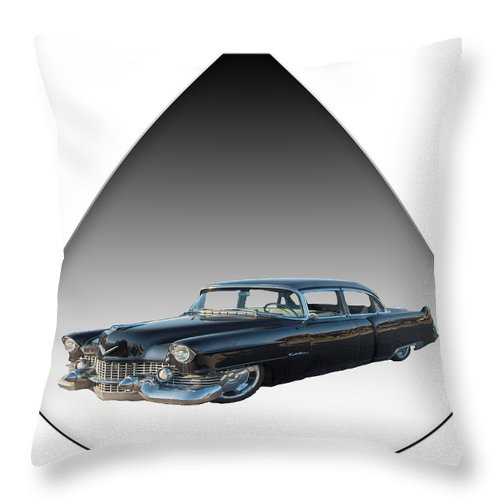 Cadillac Car Vehicles Classic Teardrop Saskatchewan Throw Pillow featuring the mixed media The Caddy by Andrea Lawrence