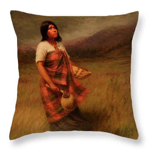 Feathers Throw Pillow featuring the painting The Call Of Makila Mad Tha by Grace Carpenter Hudson