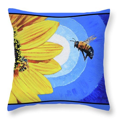 Bee Throw Pillow featuring the painting The Call of the Sunflower by John Lautermilch