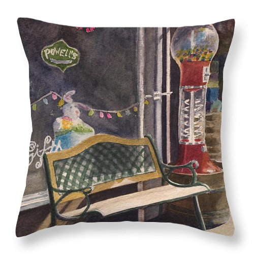 Candy Throw Pillow featuring the painting The Candy Shop by Karen Fleschler