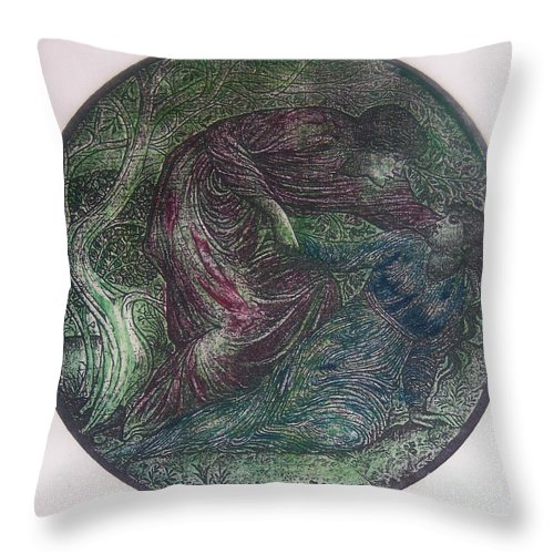 Man Throw Pillow featuring the mixed media The Capture by Emily Young
