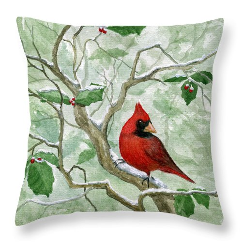 Cardinal Throw Pillow featuring the painting The Cardinal by Mary Tuomi
