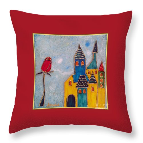 Castle Throw Pillow featuring the mixed media The Castle Lives by Aqualia