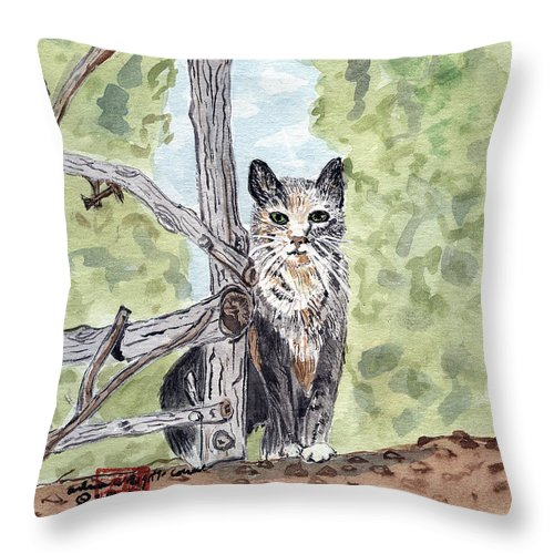 Cat Throw Pillow featuring the painting The Cat At The Fence by Arlene Wright-Correll