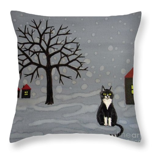 Cat Throw Pillow featuring the painting The Cat Is Waiting by Melina Mel P
