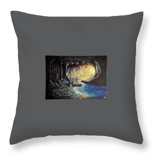Landscape Throw Pillow featuring the painting The Cave by Monika Bickei
