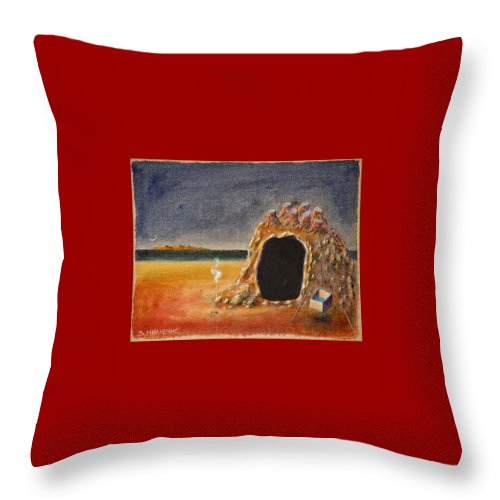 Metaphysacal Throw Pillow featuring the painting The Cave Of Orpheas by Dimitris Milionis