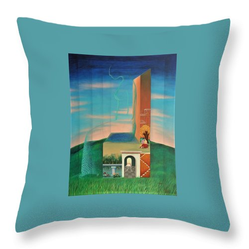 Romantic Throw Pillow featuring the painting The Chair For You by Raju Bose