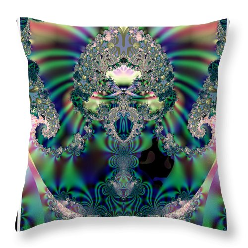 Fractals Throw Pillow featuring the digital art The Chalice by Charmaine Zoe