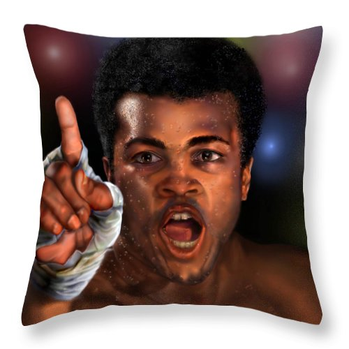 Champion Throw Pillow featuring the painting The Champ Is Here -period by Reggie Duffie