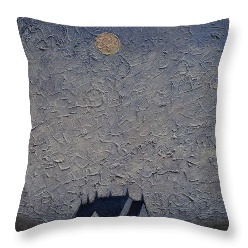 Loch Throw Pillow featuring the painting The Chapel on the Loch by Andy Mercer