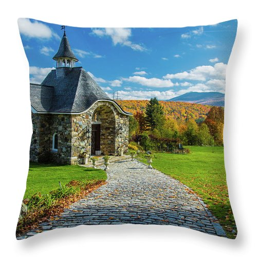 Landscape Throw Pillow featuring the photograph The Chapel by Pierre Cornay