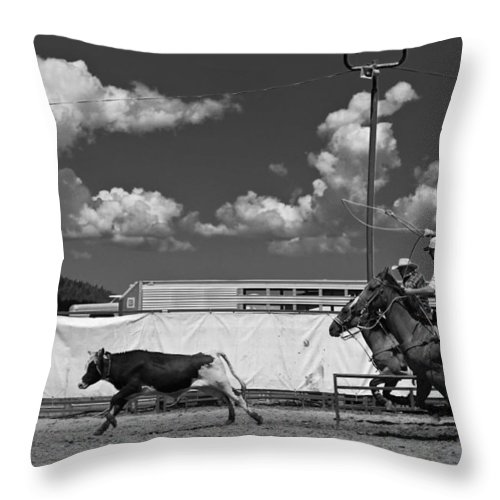 Calf Throw Pillow featuring the photograph The Chase For Time by Scott Sawyer