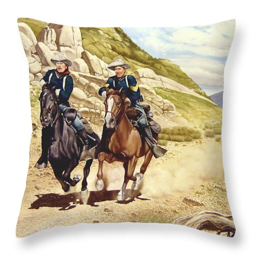 Western Throw Pillow featuring the painting The Chase by Marc Stewart
