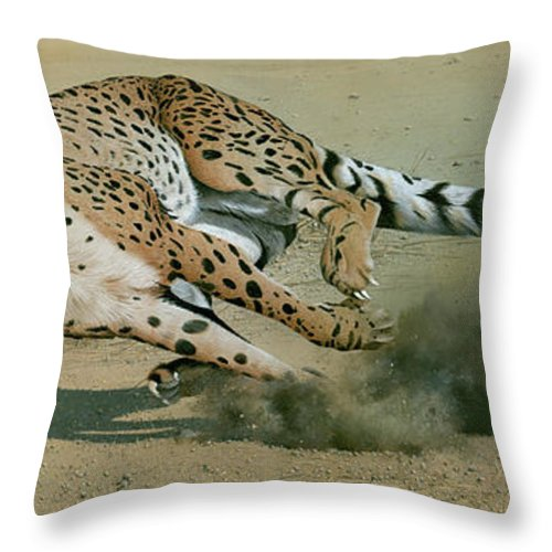 Cheetah Throw Pillow featuring the painting The Chase by Mike Brown