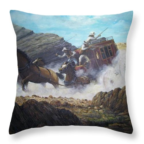 Western Art Throw Pillow featuring the painting The Chase by Perrys Fine Art