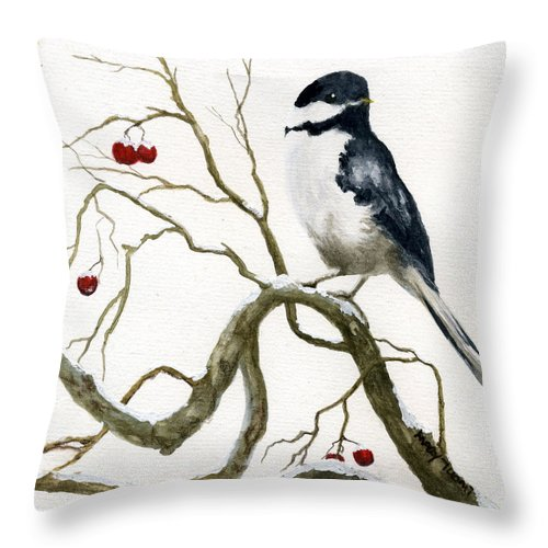 Birds Throw Pillow featuring the painting The Chickadee by Mary Tuomi