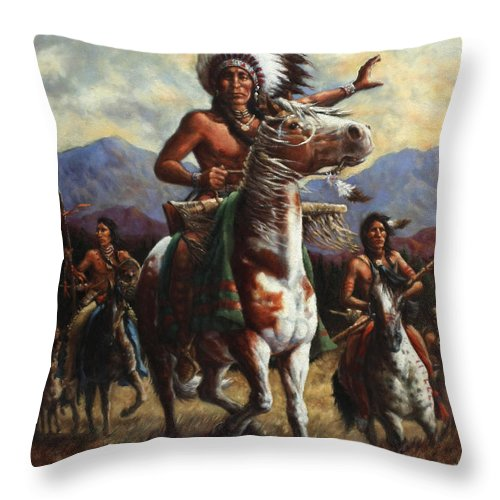 Native American Throw Pillow featuring the painting The Chief by Harvie Brown