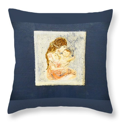 Humain Creation. Throw Pillow featuring the painting The Child And The Mother. by Corinne de la garrigue