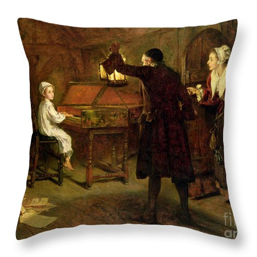 The Child Handel Throw Pillow featuring the painting The Child Handel Discovered By His Parents by Margaret Isabel Dicksee