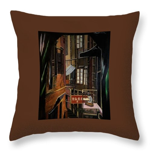 Cityscape Throw Pillow featuring the painting The Chinese Painter by Thomas Moormann
