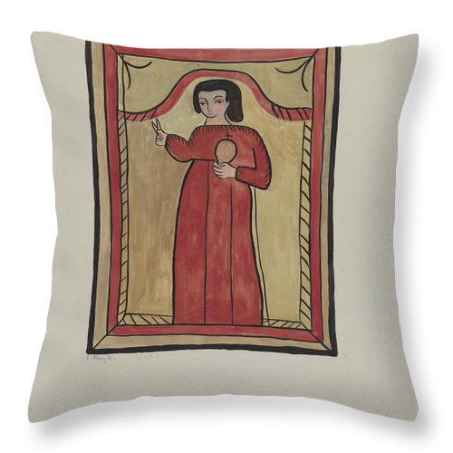 Throw Pillow featuring the drawing The Christ Child-retalba El Nino Perdido, (the Lost Child) A Retabla by E. Boyd