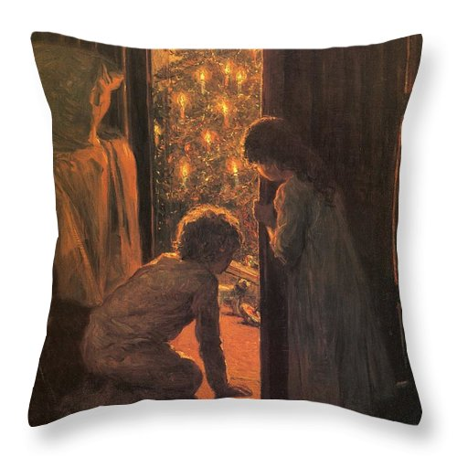 The Christmas Tree Throw Pillow featuring the painting The Christmas Tree by Henry Mosler