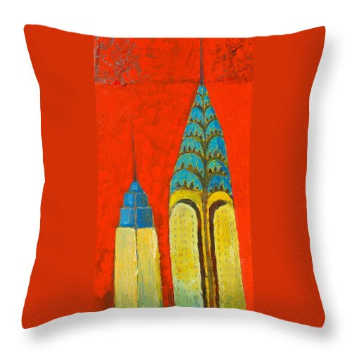 Throw Pillow featuring the painting The Chrysler And The Empire State by Habib Ayat