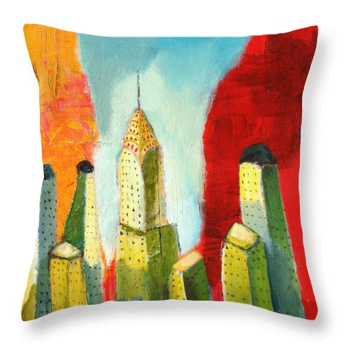 Abstract Cityscape Throw Pillow featuring the painting The Chrysler In Colors by Habib Ayat