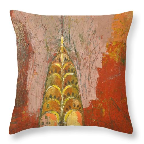 Abstract Cityscape Throw Pillow featuring the painting The Chrysler In Motion by Habib Ayat