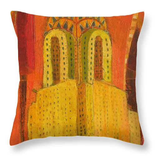 Abstract Cityscape Throw Pillow featuring the painting The Chrysler In Red by Habib Ayat