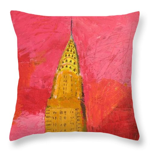 Local Nyc Cityscape Painting Throw Pillow featuring the painting The Chrysler With Red by Habib Ayat