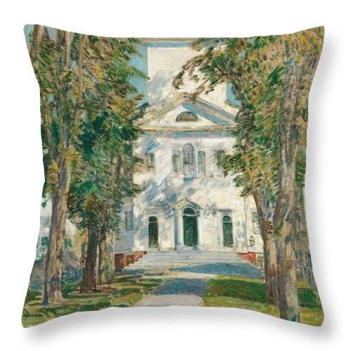 Childe Hassam Throw Pillow featuring the painting The Church At Gloucester, 1918 by Childe Hassam