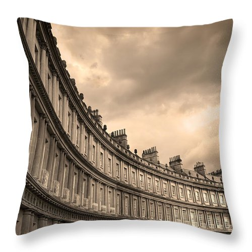 Bath Throw Pillow featuring the photograph The Circus Bath England by Mal Bray