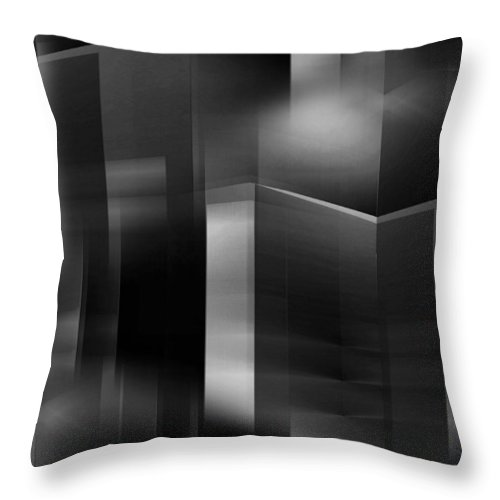 Abstract Throw Pillow featuring the digital art The City At Night 3 by John Krakora